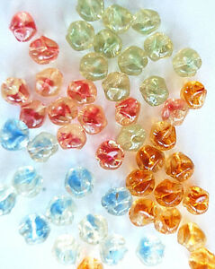 VINTAGE 12 WEST GERMANY BAROQUE NUGGET GLASS BEADS • 8.5mm • Assorted Colors