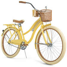 """Huffy 26"""" Womens Nel Lusso Cruiser Bike With Perfect Fit Frame, Yellow"""