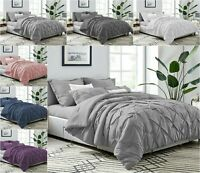 PINTUCK BEDDING DUVET QUILT COVER SET 100% EGYPTIAN COTTON 200TC DOUBLE KING