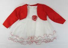Baby Girls Dress Bolero Tutu Red Trim Rose Formal Party Christmas Xmas NB 0 24 M