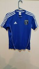San Jose Earthquakes Quakes Soccer Shirt Adidas Size Youth L 100% Polyester