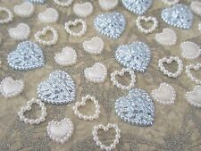 50 Pearl Hearts Mix Blue Ivory Embellishments Craft Supply Scrapbooking Card