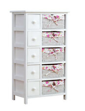 Stylish Modern White 5-layer Chest of Drawers With Wicker Baskets Floral Lining