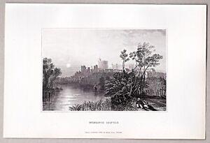 Windsor - Windsor Castle von der Themse aus - Stich, Original Stahlstich 1845