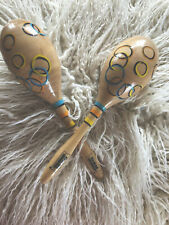 Two Kids Wooden Maracas Rumba Shakers Rattles Sand Hammer Percussion Instrument