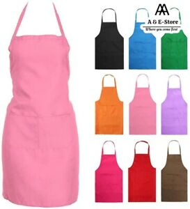 Catering Plain Apron Cooking BBQ Women Tabard Apron Chefs Baking Professional UK