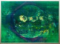 Jozsef Toth *1944 Grüner Planet Öl-Lackgemälde 70 x 98 cm Himmelskörper Weltall