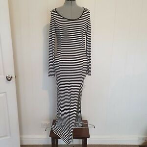 Madison Square Women's Size S Black White Long Sleeve Long Bodycon Dress AA14