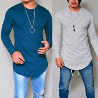 GN- Men Fashion T-Shirt Long Sleeve Crew Neck Slim Fit Solid Casual Tee Sanwood