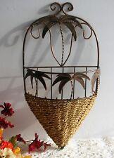 "Vintage 16"" Wall Decor Basket Planter w Bronze Tone Metal Palm Tree Trim"