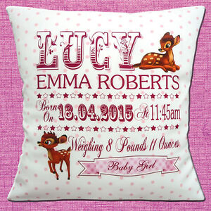 """PERSONALISED BIRTH BAMBI Name Date Time Weight PINK 16"""" Pillow Cushion Cover"""