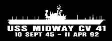 """USS MIDWAY CV 41 Silhouette 4"""" x 12"""" Decals US NAVY"""