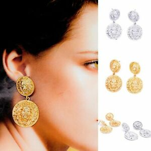 Gold Silver Statement Chunky Coin Circle Drop Dangle Earrings Style Jewellery UK