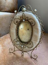 Gold Coloured Metal Fake Pearl Design Oval Photo Frame Vintage Style