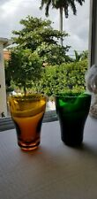 """NWT ROSENTHAL """"Memphis Tumbler"""" Green and Amber Water Glasses"""
