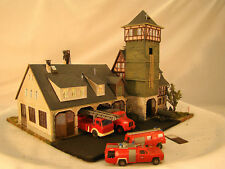 HO Fire Station Diorama - Vollmer - custom built with all cars and trailers