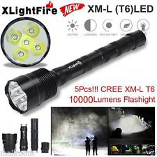 Tactical 10000LM 5 x XML T6 LED Taschenlampen Fackel Licht 5Modes 18650 Hunting
