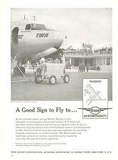 1950 Esso Fuel Aviation Ad Barajas Airport Madrid Spain TWA The Colosseum Plane