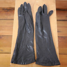 Vintage French Leather Silk Lined Womens Opera Theater Gloves Size 6 1/2 Black
