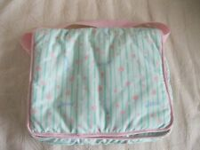 """New ListingMadeline 8"""" Doll Pale Green Cloth Carrying Case Webbed Handle Many Compartments+"""
