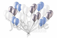 24pc Light Blue Silver & White Latex Balloons Party Decoration Birthday Baby Boy