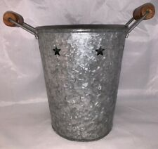 Galvanized Steel Metal Bucket Pail Pot with Stars Accents and Wood Handle