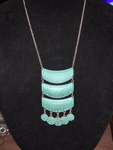 """SILVER TONE SOUTHWEST STYLE STATEMENT NECKLACE CHAIN 28"""" Turquoise"""