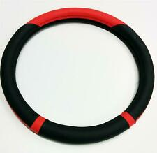 Steering Wheel Cover Genuine Red / Black Leather Fitted Glove For Renault