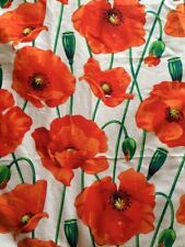 149cm Wide White Background Red Poppy Flowers Print 100% Cotton Poplin Fabric