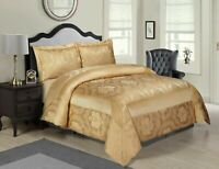 3 PCs  Jacquard Quilted Bedspread Set Comforter Double,King,Super King / Golden