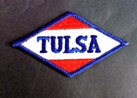 """TULSA GAS OIL EMBROIDERED SEW ON PATCH ENERGY ADVERTISING PETROLIANA  4"""" x 2"""""""