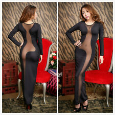Womens Cocktail Evening Clubwear Backless Transparent Long Slim Pencil Dress