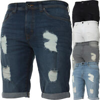 Kruze Denim Mens Shorts Stretch Regular Fit Distressed Ripped Half Jeans Pants