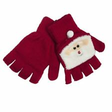 RJM Ladies Festive Christmas Mitten Cap Fingerless Gloves Red Santa