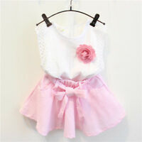 3PCS Toddler Kids Baby Girls Outfit Clothes Shirt Tops+Short Tutu Skirt+Belt Set