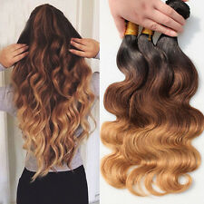 "14"" Brazilian Ombre Virgin Body Wave 3 tone 100% Human Hair Extensions 50g"