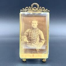 Antique French Empire Crystal & Gold CDV Portrait Photograph Photo Picture Frame