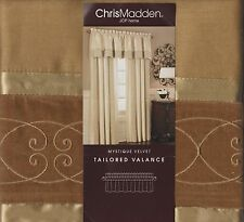 Chris Madden Aspen Gold Tones Mystique Velvet Scroll Window Lined Valance NEW