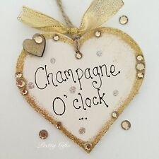 Sparkly Champagne, Pimms, Vodka, Wine O'clock Handmade Heart Gift Plaque