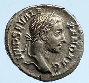 SEVERUS ALEXANDER 231 AD Rome Silver Ancient OLD Roman Coin Jupiter Zeus i95870