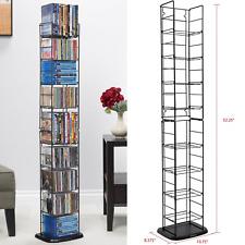Steel Media Tower Rack Storage Organizer CD DVD Video Game Blu Ray Shelf Stand