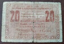20 cent banknote, 1922  Lithuania