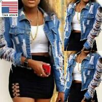 Womens Hollow Casual Coat Ripped Denim Jacket Jeans Buttons Outwear Crop Tops US