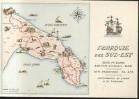 FERROVIE DEL SUD EST cartolina pubblicitaria anni '50 autoservizi di linea