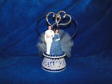 New 45th Wedding Anniversary Couple Cake topper with Bride & Groom in Blue