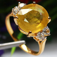NATURAL 11 X 12 mm. OVAL CUT YELLOW SAPPHIRE & WHITE TOPAZ RING 925 SILVER