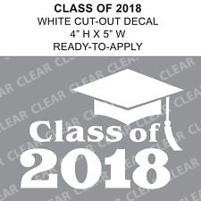 Class Of 2018 Graduation Cap White vinyl decal car sticker - Ready-to-Apply
