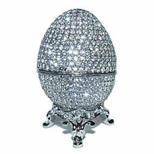 Faberge Egg Trinket Pill Jewel Box Platinum Plated W/Swarovski Crystals Gift Box