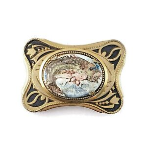 Vintage Fish Painting ORNATE Belt Buckle gold and black tone fishing