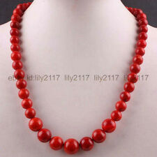 """Beautiful 6-14MM Red Coral Round Beads Necklace Gemstone Strand 20"""""""